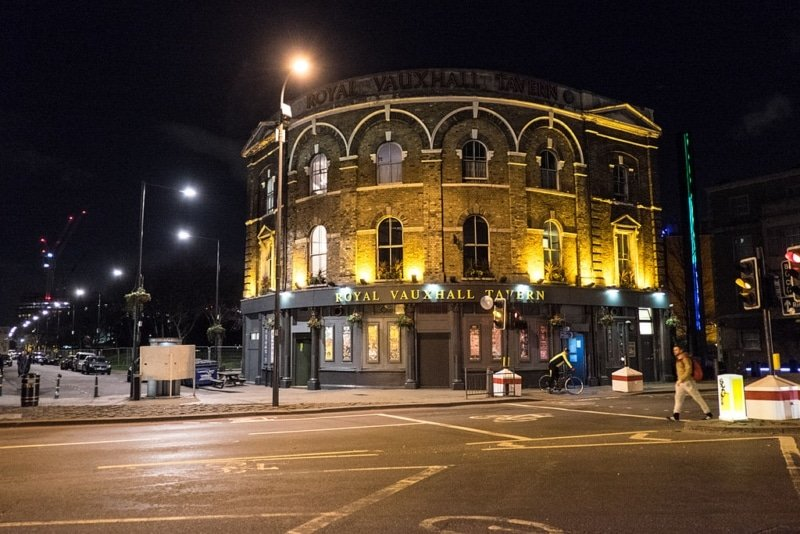 exterior of Royal Vauxhall Tavern at night