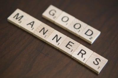 Gay massage etiquette: scrabble letters spelling out 'good manners'