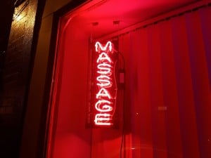 Sensual massage for men in London - neon sign