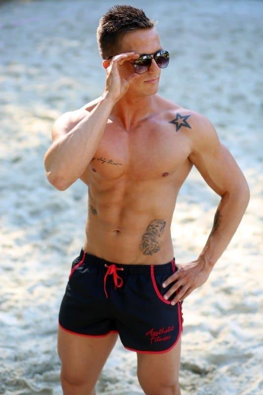 male figure in beachwear
