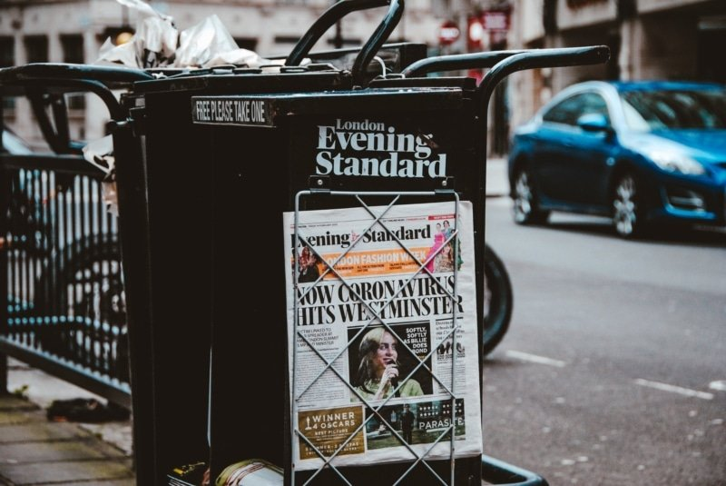 news stand and coronavirus headline
