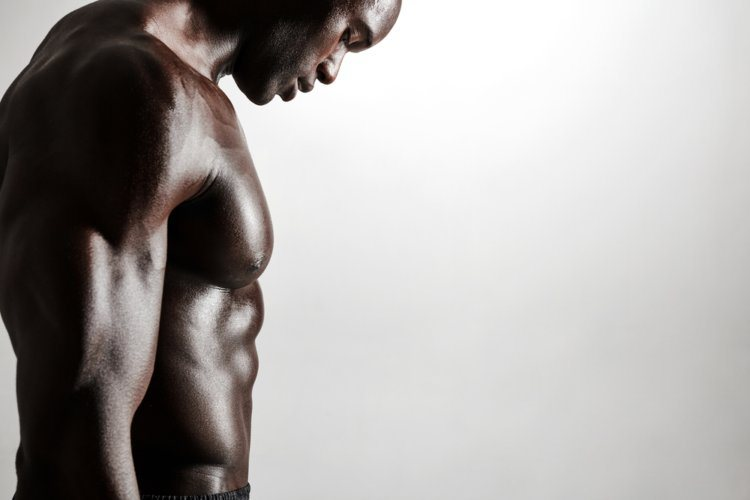 black and muscular male body