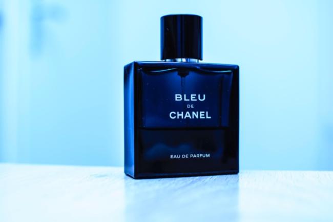 bottle of bleu de chanel fragrance